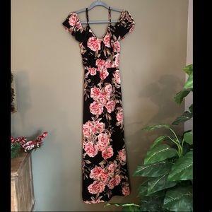 XS Black Floral Maxi Dress!